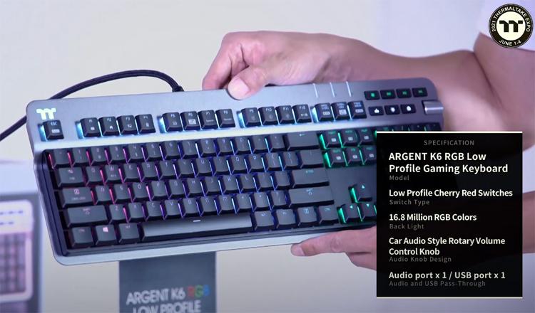 Thermaltake представила механическую клавиатуру Argent K6 RGB на низкопрофильных переключателях