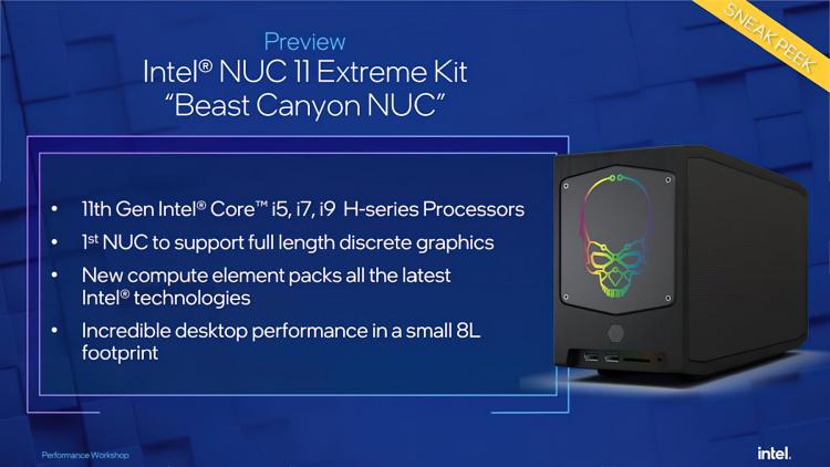"""Игровые компьютеры Intel NUC 11 Extreme получат настольные версии 10-нм чипов Tiger Lake, вплоть доCore i9-11900KB"""""""