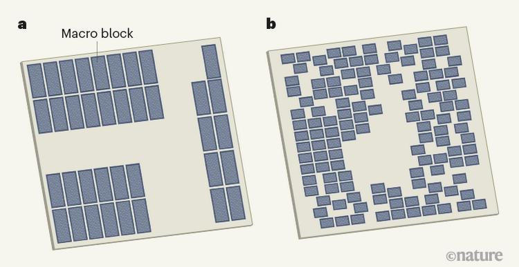 Слева — схема чипа, разработанного человеком, слева — алгоритмом машинного обучения