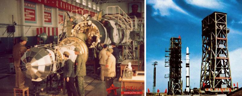 Запуск человека в космос должен был стать вторым шагом после выведения первого китайского спутника (на фото -- подготовка космического аппарата «Дунханхун-1» и его ракеты-носителя «Чан Чжэн-1»). Источник: https://forum.nasaspaceflight.com/index.php?topic=50730.0