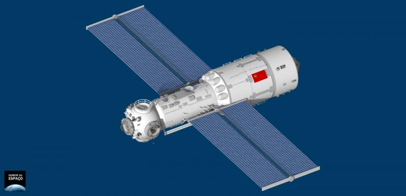 «Тяньхэ» -- основной модуль (базовый блок) станции «Тяньгун» -- в автономном полёте. Графика Джуниора Миранды