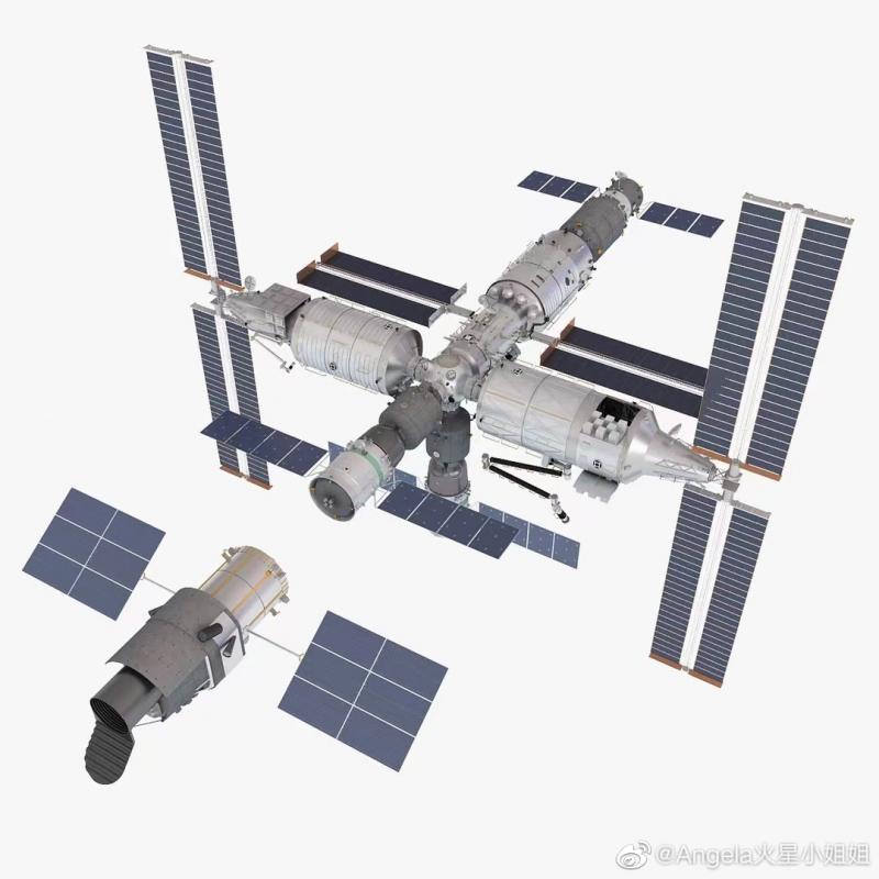 Станция «Тяньгун» в полном составе рядом с автономным свободнолетающим модулем-телескопом «Сюньтянь». Источник: https://forum.nasaspaceflight.com/index.php?topic=26876.260