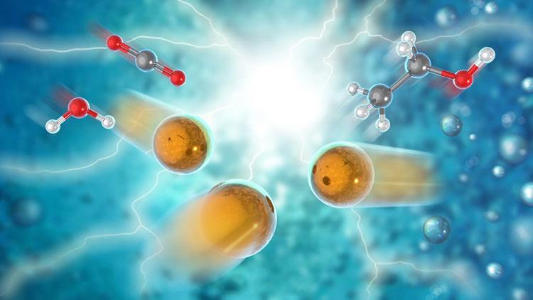 Преобразование углекислого газа в этиловый спирт в представлении художника. Источник изображения: Argonne National Laboratory