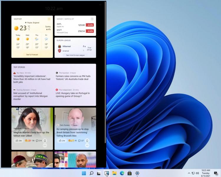 Ранняя версия виджетов в Windows 11