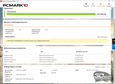 PCMark'10 «Applications» (6 ч 09 мин)
