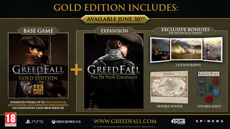 Вместе с розничным изданием GreedFall: Gold Edition идут три литографии, постер и наклейки
