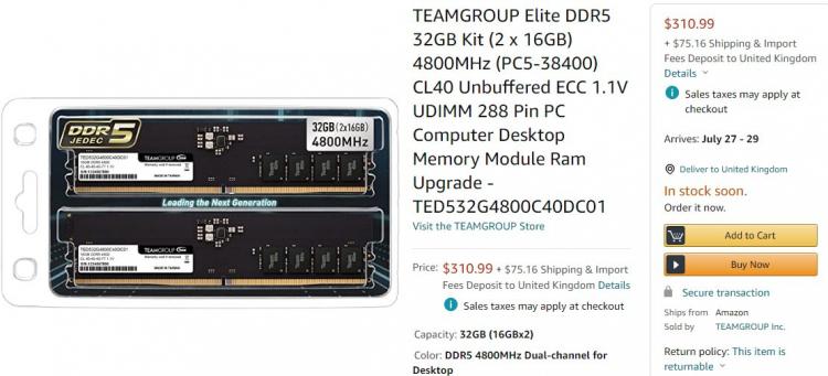 Модули памяти DDR5-4800 появились в продаже: комплект объёмом 32 Гбайт стоит $3103