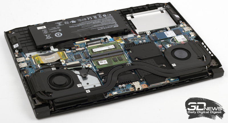 Слабое место лэптопа Acer Nitro 5 — система охлаждения, насчитывающая всего три теплотрубки