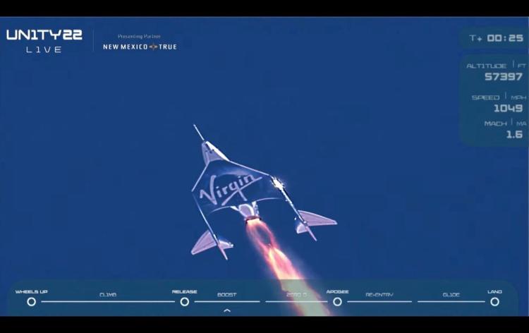 Туристический космический корабль Virgin Galactic отправился в полёт с миллиардеромРичардом Брэнсоном