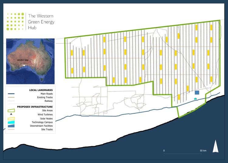 Проект 50-МВт энергетической установки по добыче водорода с помощью энрегии ветра и солнца. Источник изображения: InterContinental Energy