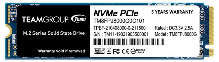 TeamGroup представила накопитель MP34Q M.2 PCIe ёмкостью 8 Тбайт на памяти QLC