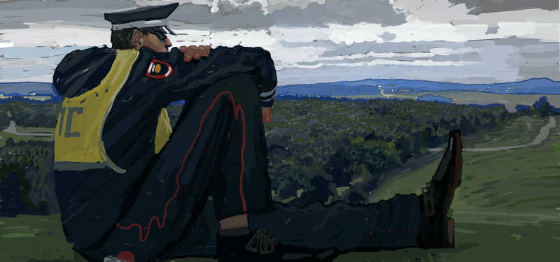 Сюрреалистическая картина Андрея Сурнова, вдохновившая команду на образ милиционера-колосса  Источник изображения: artstation.com