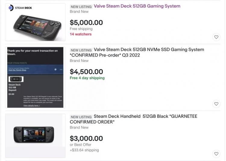Перекупщики хотят $5000 за портативную консоль Steam Deck