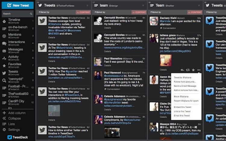 Текущий интерфейс TweetDeck
