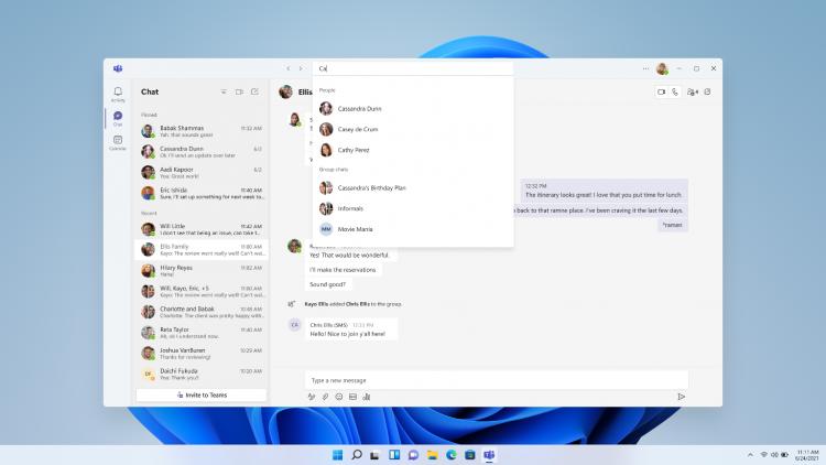 В Windows 11 появилось приложение «Чат» на базе сервиса Microsoft Teams
