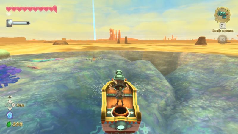 В зоне действия временного кристалла — вода из прошлого. За пределами — песок настоящего. Одна из наиболее удачных идей Skyward Sword