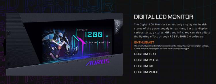 Блок питания Gigabyte Aorus GP-AP1200PM мощностью 1200 Вт оснащён большим цветным дисплеем