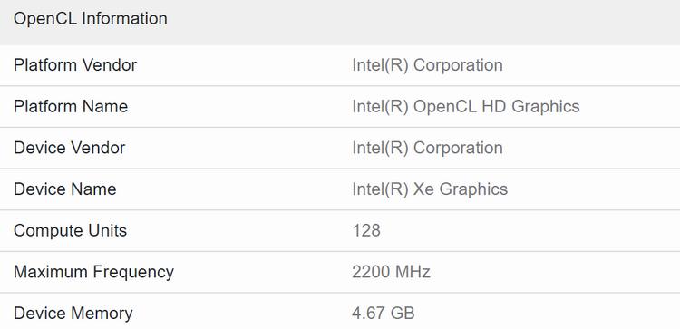 Intel DG2-128EU в тесте Geekbench