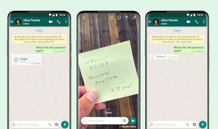 В мессенджере WhatsApp появилась возможность отправки исчезающих изображений