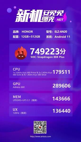 Honor Magic 3 Pro отметился в бенчмарке с 12 Гбайт оперативной и 512 Гбайт флеш-памяти