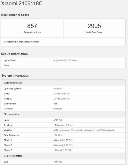 Смартфон Xiaomi Mi MIX 4 показался в Geekbench с процессором Snapdragon 888 Plus