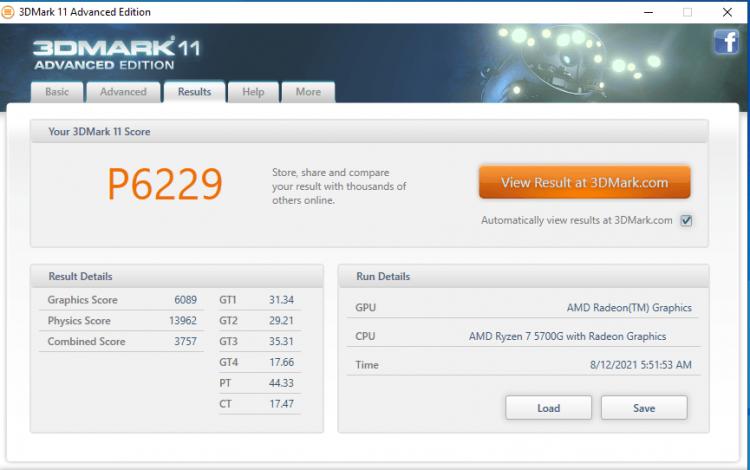 Результат Ryzen 7 5700G в 3DMark 11
