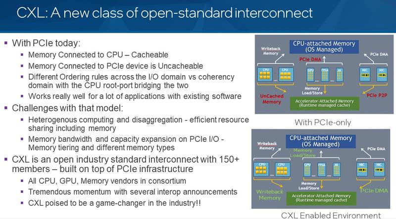 CXL не требует DMA, поддерживает кеширование и позволяет использовать быструю модель Memory Load/Store