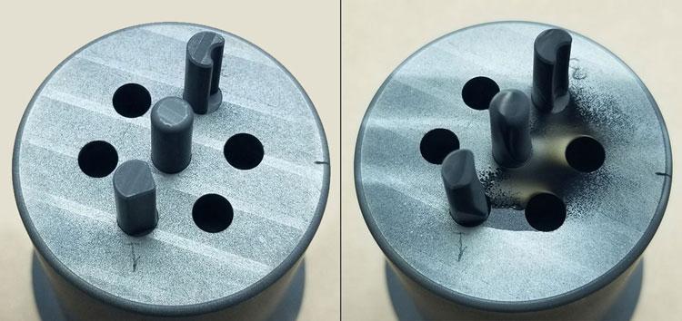 Углеродные образцы до обработки плазмой (слева) и после плазмы (справа). Источник изображения: General Atomics