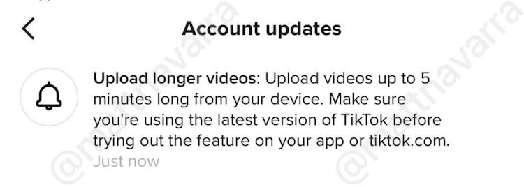 TikTok увеличит максимальную продолжительность роликов до пяти минут или даже больше