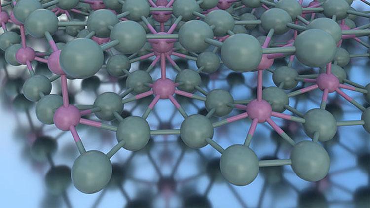 Два слоя борофена, соединённых межслойными связями (атомы связи показаны пурпурным цветом).Источник изображения: Northwestern