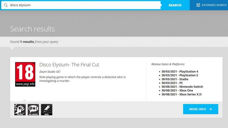 Карточка Disco Elysium: The Final Cut на сайте PEGI