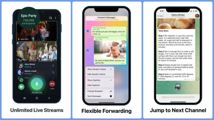 Telegram снял ограничение на число зрителей видеотрансляций и добавил настройки пересылки сообщений