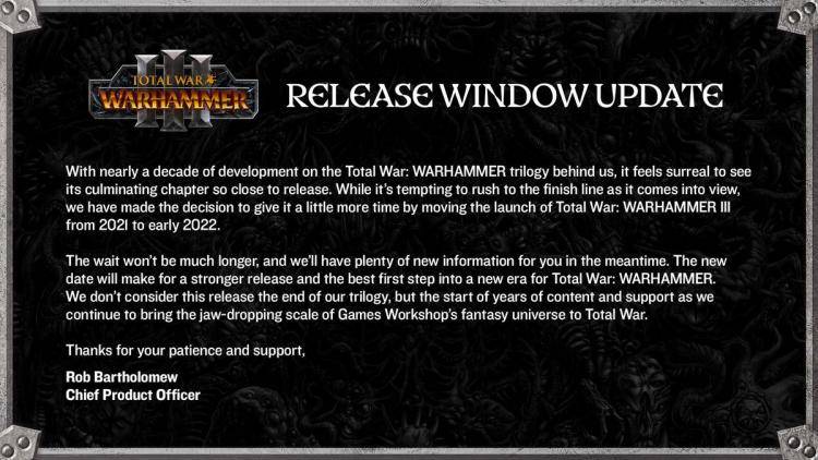 Total War: Warhammer III перенесли на 2022 год