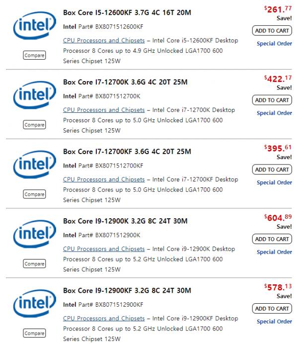 Ещё один магазин опубликовал цены процессоров Alder Lake — не дороже $600
