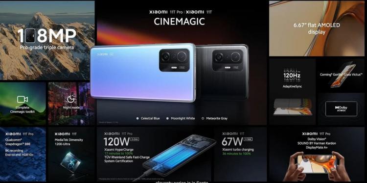 Представлены Xiaomi 11T и 11T Pro— флагманы с продвинутыми 108-Мп камерами и зарядкой до 120 Вт2