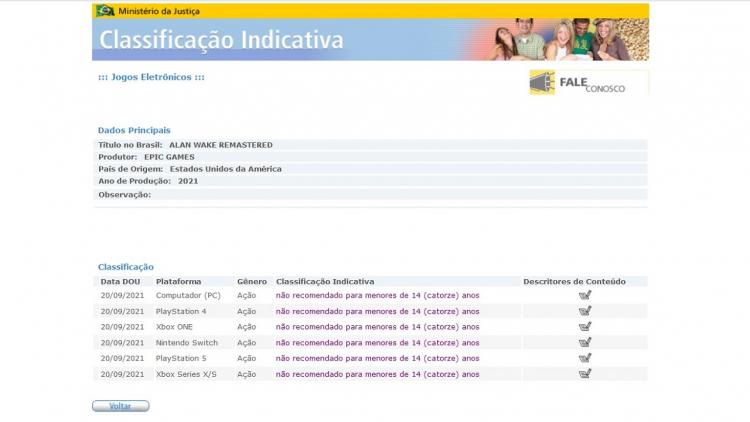 Издание Alan Wake Remastered для Switch получило возрастной рейтинг в Бразилии
