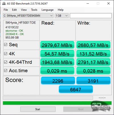 AS SSD Benchmark (от электросети)