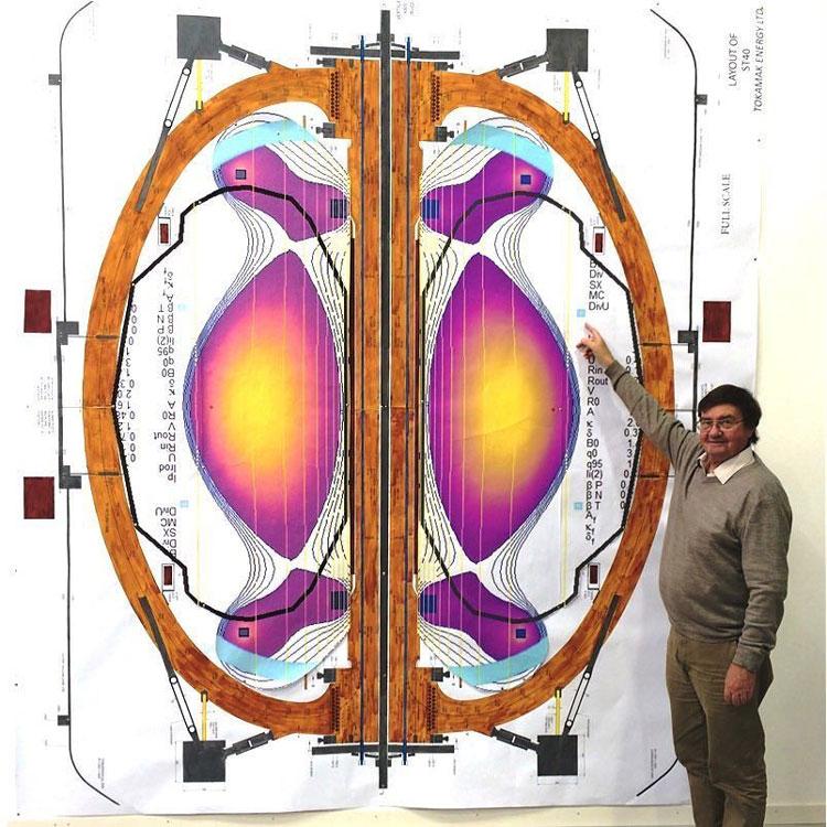Изображение сферического токамака Tokamak Energy в разрезе в натуральную величину. Источник изображения: Tokamak Energy