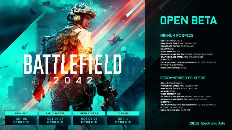 Для комфортной игры в бета-версию Battlefield 2042 понадобится видеокарта уровня RTX 3060 и SSD