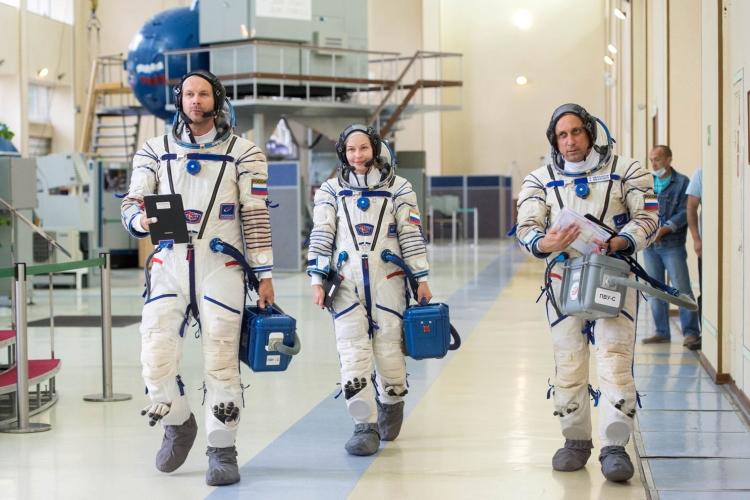 Экипаж корабля «Союз МС-19» во время подготовки / Изображение: Центр подготовки космонавтов