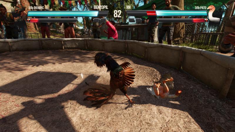 Петушиные бои оформлены в стиле файтинга — с выбором бойца, разными приёмами и игрой до двух побед