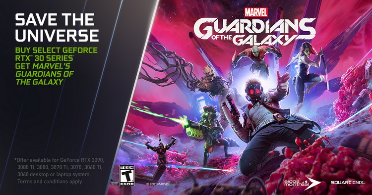 NVIDIA подарит игру Guardians of the Galaxy покупателям ПК с видеокартами GeForce RTX 30-й серии