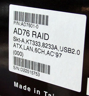 DFI AD76-RAID label