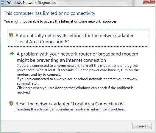 how to fix limited access internet
