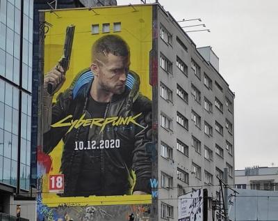 """Похоже, теперь уже точно никаких переносов: в Варшаве появились огромные рекламные плакаты Cyberpunk 2077 с датой релиза"""""""